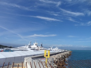 Large yachts dot the harbour near this idyllic city by Nice, France.